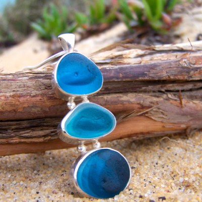 Blue multi tri pendant by Mornington Sea Glass