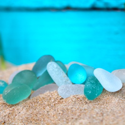 Turquoise and White Sea Glass from England by Mornington Sea Glass