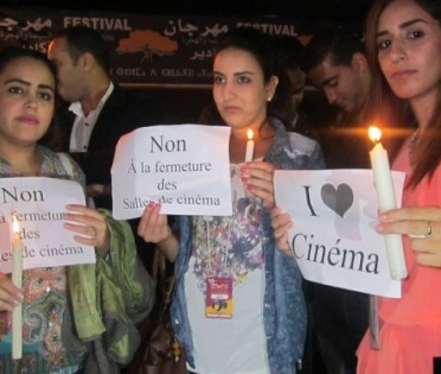 Agadir Silent Candle Lit Standing Protest Mourning Cinemas