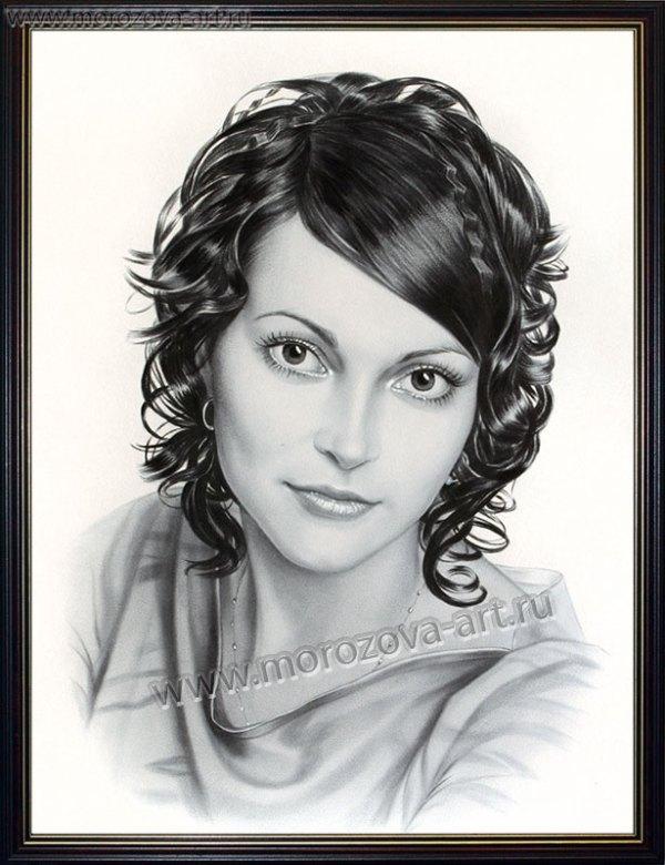 Нарисую гламурный женский портрет ч/б, сухая кисть, на ...