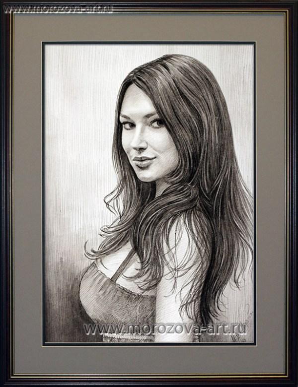 Портрет девушки нарисованный тушью, женские портреты по ...