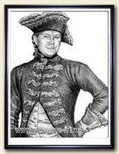 Нарисуем портрет мужчины тушью в историческом костюме, по ...