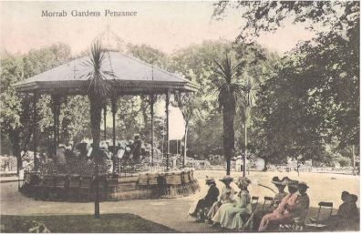 The bandstand in Morrab Gardens, Penzance from a postcard published around 1905