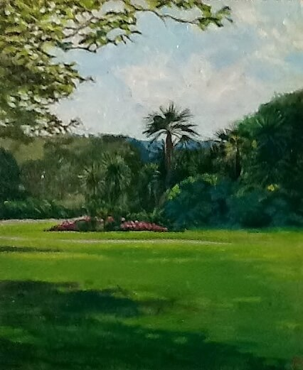 Morrab Gardens. A painting by Lee Stevenson