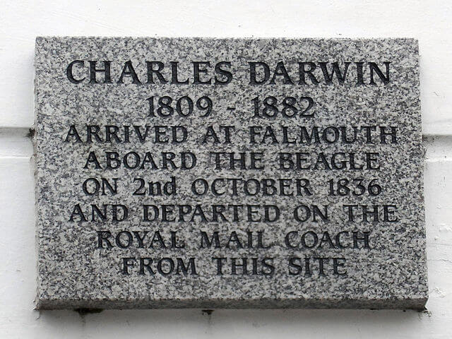 """A marble plaque bearing the words """"Charles Darwin 1809-1882 arrived at Falmouth aboard 'The Beagle' on 2nd October 1836 and departed on the Royal Mail coach from this site"""""""