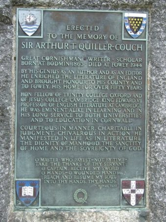 A plaque on the memorial to Sir Arthur Quiller-Couch