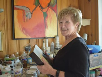 Artist Anne Barkley in her home and studio. (The Leader/Gibb photo)