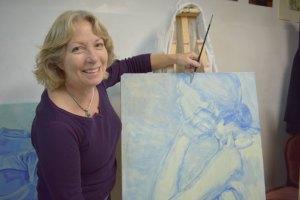 Artist Dorothy Adlington in her studio