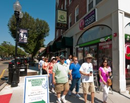 Group of people walking through Morristown, New Jersey