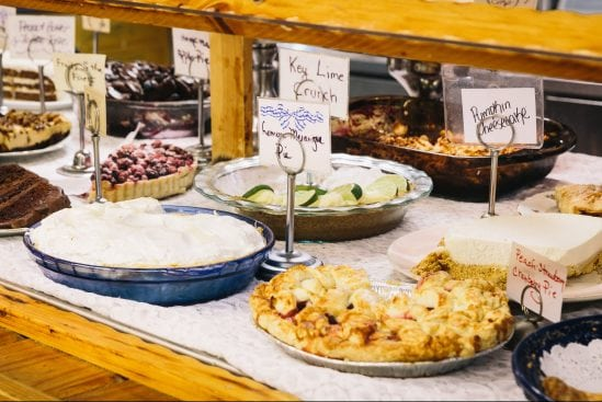 Dessert buffet with a variety of pies