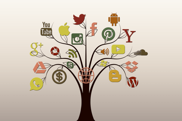 Illustrated tree with social media icon