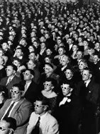 Audience watching the 3D movie Bwana Devil in 1953
