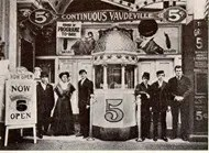 Outside early continous vaudeville show