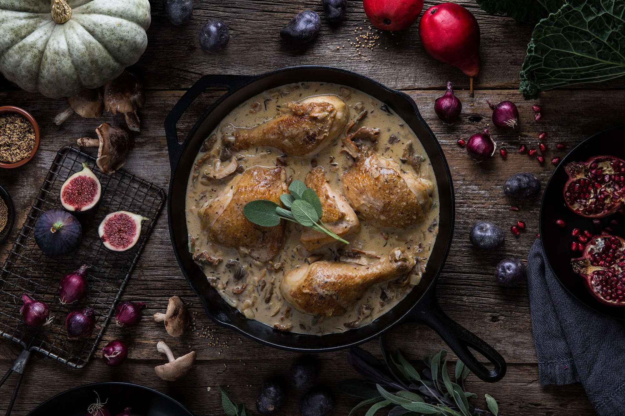 Chicken with mushrooms - mortar-and-pestle.ca
