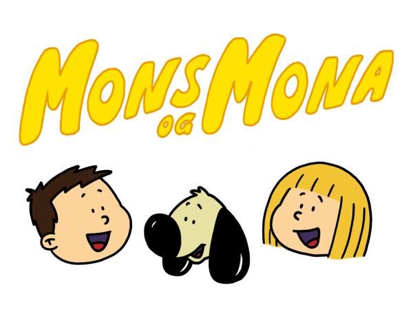 Hodet av Mons, mona og Boffen under en gul Mons og Mona logo