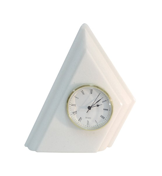 reloj triangulo simple mármol blanco Macael