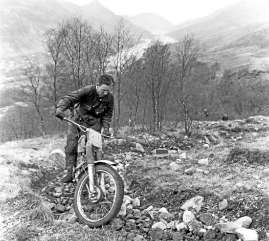 A last-minute inclusion in the official AJS trials team, young Rob Edwards on Loch Eilt Path in the SSDT 1964 during which he won the best 350 cup.
