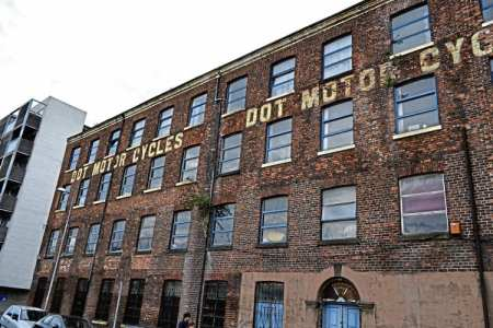 Still standing and likely to do so for many years to come – the listed Dot Motor Cycles factory in Manchester.