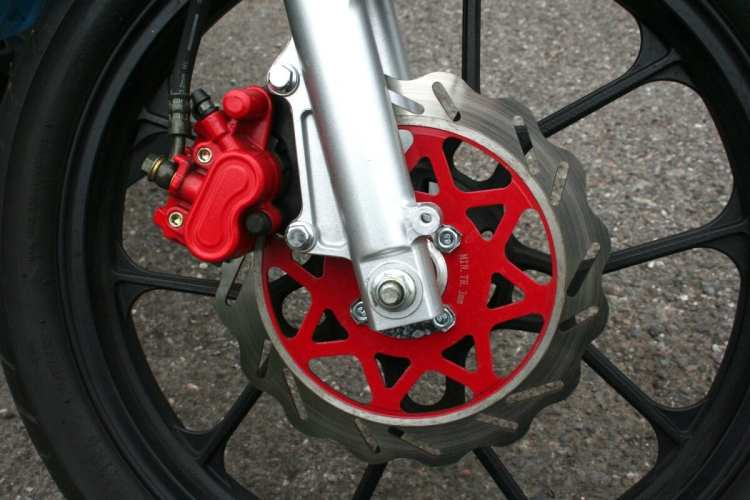 Customer bikes won't have red calipers, so the brakes won't be as powerful. Obviously