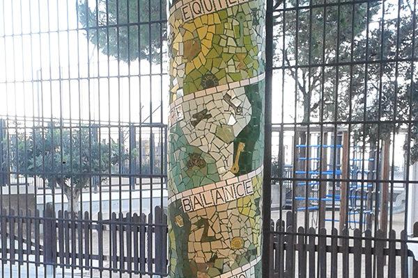 Monochrome columns, 70cm diameter, La Miranda School Barcelona.