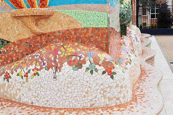 50th anniversary mural, 16m x 12m, bench detail, Colegio Alameda de Osuna, 2012.