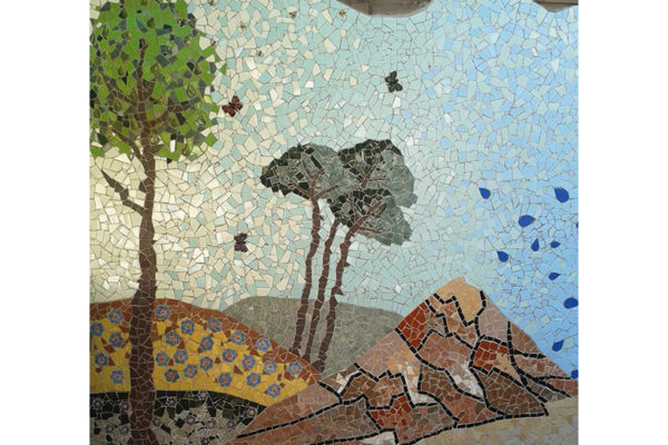 Four seasons mural, Summer, 9m x 2'60m, trees detail, La Miranda School, Barcelona, 2015.