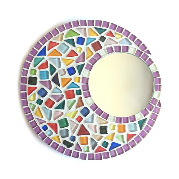 Mozaiekpakket ronde spiegel, mozaïekspiegel, mosaic mirror
