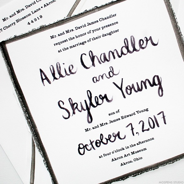 Modern Wedding Invitations Black And White Hand Painted Calligraphy Mospensstudio