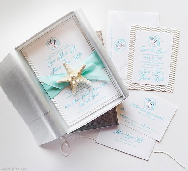 Elegant Beach Wedding Invitations In A Box With Starfish Mospensstudio