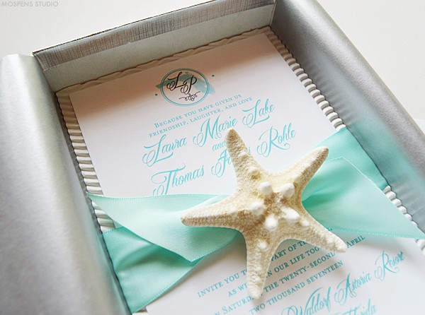 Tiffany Blue Beach Wedding Invitations Mospens Studio