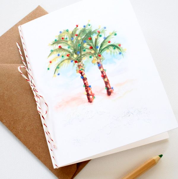 Hand Painted Palm Trees Beach Christmas Cards Mospens