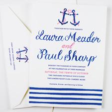 Navy Blue Dark Pink Sailboat Anchor Rope Knot Nautical Belly Band Wedding Invitations