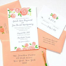 Wedding Invitations In Peach With Chic Typography Country And Inspiration