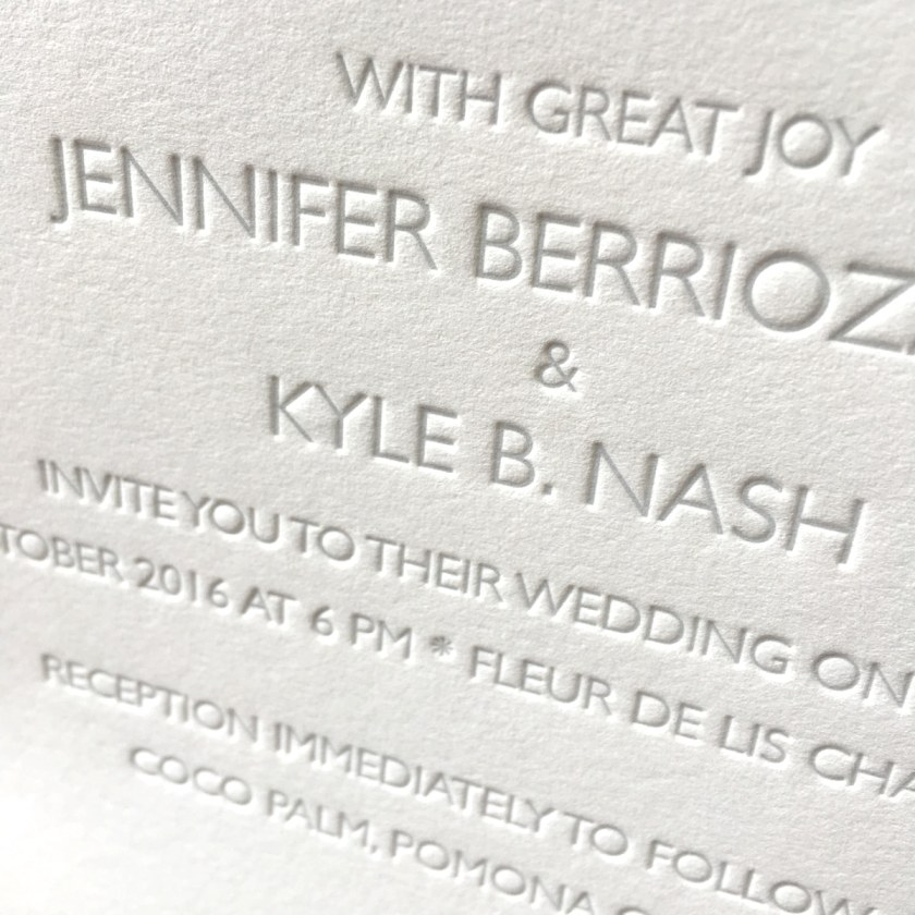Barely There Custom Letterpress Wedding Invitations Affordable
