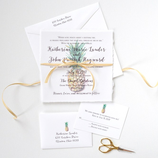 The Pineapple Wedding Invitation Design Features Hand Torn Deckled Edges Watercolor