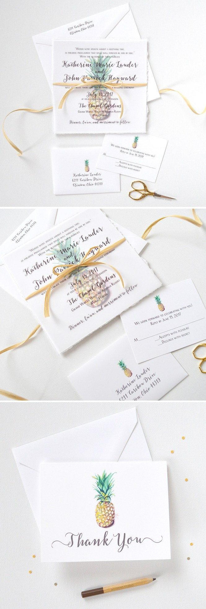 Gold Pineapple Rustic Burlap Wedding Invitations