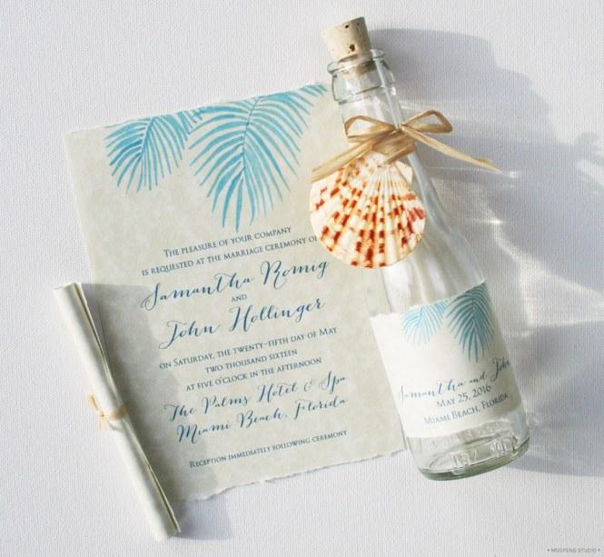 21 Bottle Beach Wedding Invitation Ideas Creative Unique
