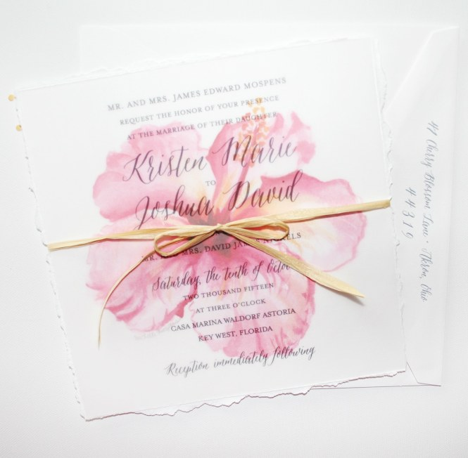 Watercolor Hibiscus Fl Wedding Invitations
