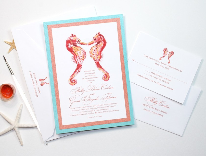 Watercolor Seahorses Layered Invitation Suite
