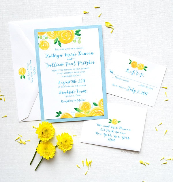 Yellow Rose Blooms Layered Invitation Suite