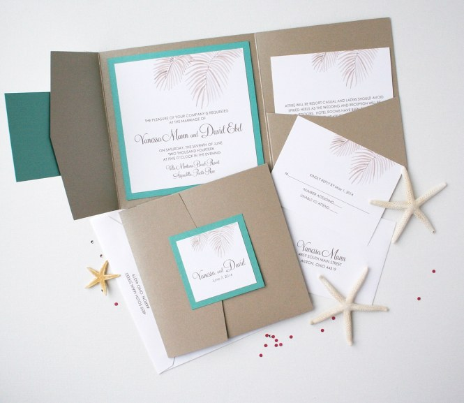 Palm Tree Fronds Folder Invitation Suite