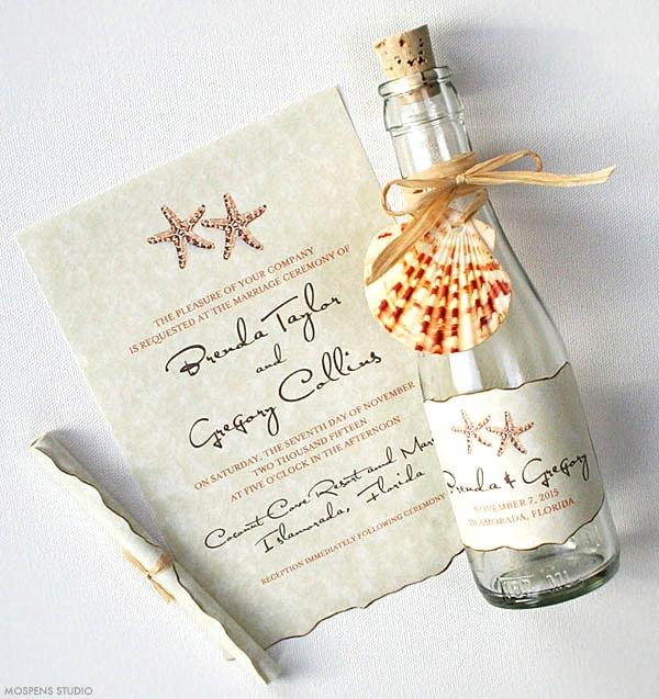 Starfish Beach Wedding Bottle Invitations