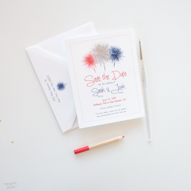 Hand Painted Fireworks Save The Date