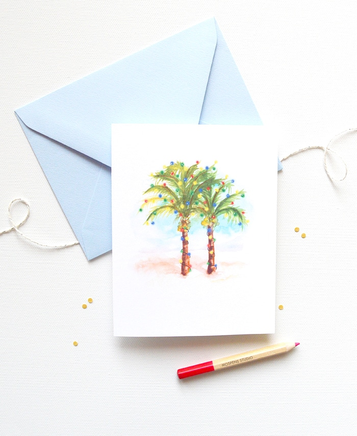 Coconut Palm Trees Christmas Card Set Custom Watercolor