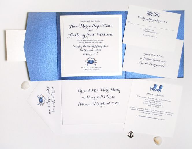 Blue Crab Folder Invitation Suite