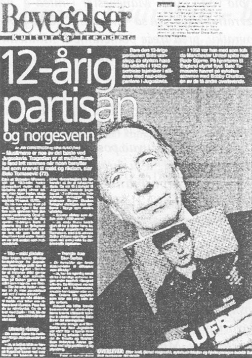12-godišnji partizan na norveškom: Faksimil stranice jedne od niza norveških novina koje su Tomaševićevoj knjizi dale veliki publicitet.