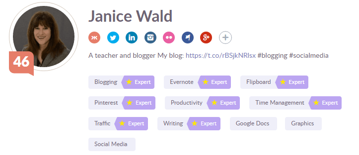 Klout profile screen