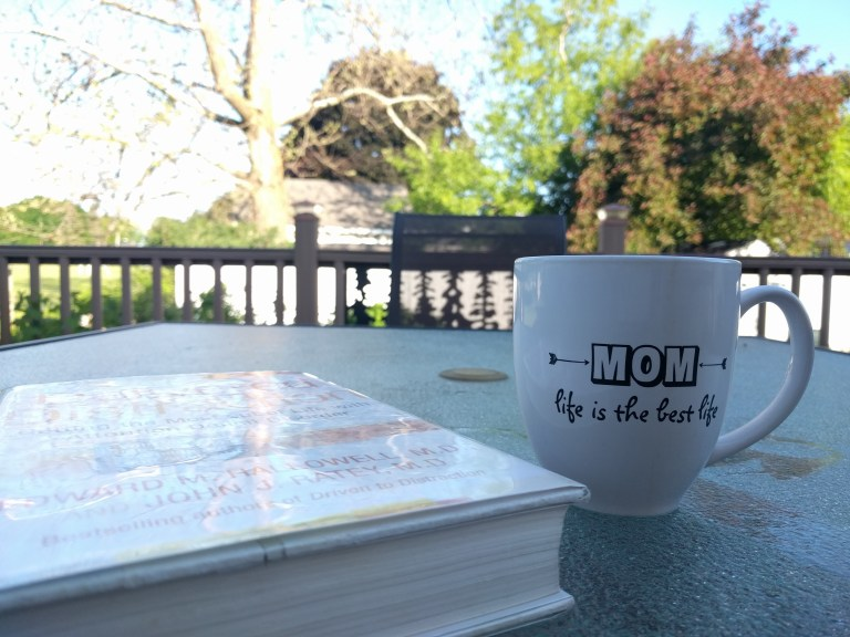 sunny patio book and mug
