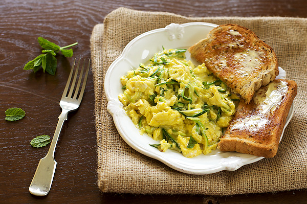 Zucchini flecked scrambled eggs