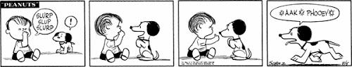 Charles Shultz PEANUTS comic strip featuring Linus letting Snoopy try out his thumb.